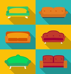 Icon set of Sofas Modern flat style with a long vector image