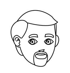 man adult beard mustache avatar line vector image