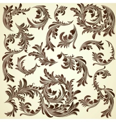 Set of vintage calligraphic floral branches vector image vector image