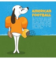 A cartoon dog playing American football Poster vector image vector image