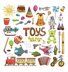 hand drawn colored toys vector image vector image