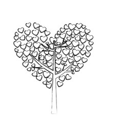 monochrome sketch of tree with leaves in shape of vector image vector image