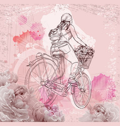 Bicyclist girl on abstract background vector