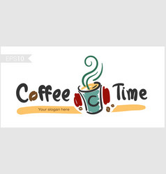 coffee time happy hour for badge label vector image vector image