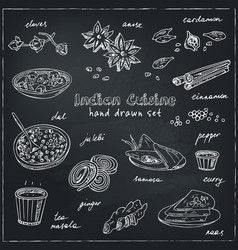 Hand drawn set of indian cuisine vector