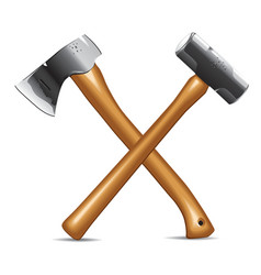 hatchet and hammer vector image vector image