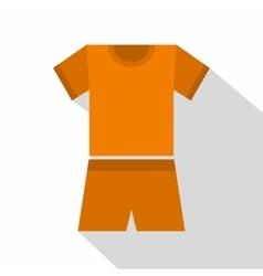 Sport orange shirt and shorts icon flat style vector image vector image