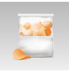 White Sealed Transparent Plastic Bag with Chips vector image