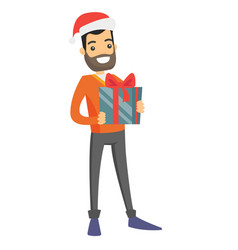 young caucasian white man holding christmas gift vector image