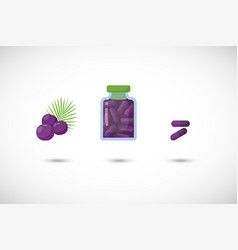 acai berries capsules flat icon set vector image vector image