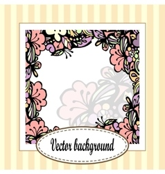 Beautiful floral frame with stripes vector image