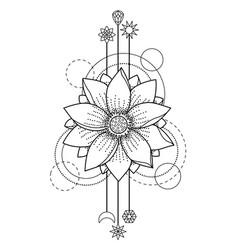 lotus modern tattoo vector image vector image