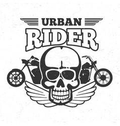 motorbike club vintage embem with motorcycle and vector image