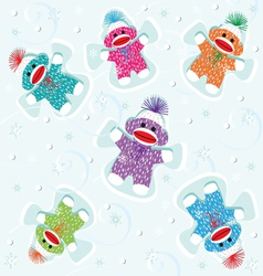 sock monkey babies snow angels vector image vector image