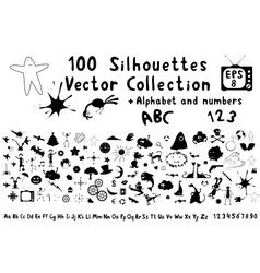 100 funny cartoon silhouettes vector image