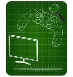 3d model of joystick and monitor on a green vector image