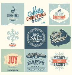 9 Merry Christmas card vector image
