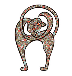 Amusing playful cat from a mosaic vector