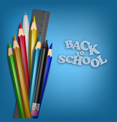 back to school template school supplies pencils vector image