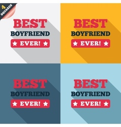 Best boyfriend ever sign icon Award symbol vector image