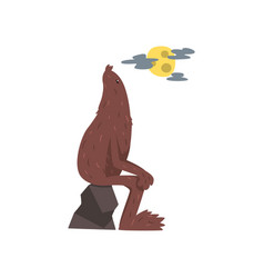 Bigfoot sitting on the stone mythical creature vector