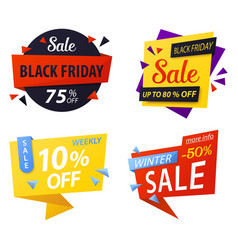 Black friday price discount tags for sale vector