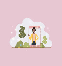 black woman in smartphone on landscape vector image