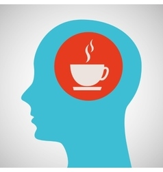 blue silhouette head cup coffe icon design vector image