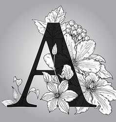 Capital Letter A floral monogram with hand drawn vector