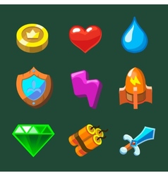 Cartoon icons set for game vector image
