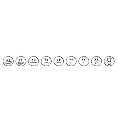 Cartoon of set of faces showing emotions from vector