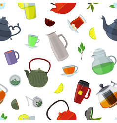 cartoon tea kettles and cups pattern or vector image