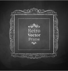 Chalked vintage baroque frame vector image