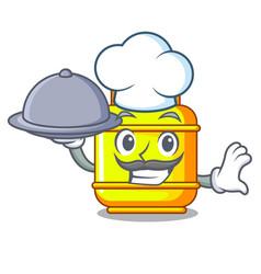 Chef with food creative in gas cartoon tank vector