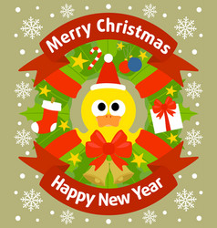 christmas and new year background card with duckli vector image