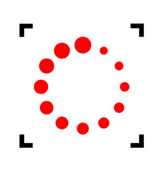 Circular loading sign red icon inside vector
