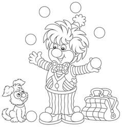 circus clown juggling with balls vector image