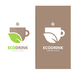 coffee and leaf logo combination drink vector image