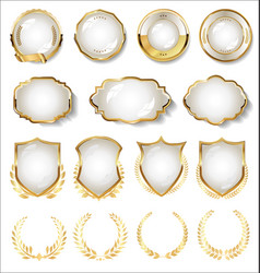 collection gold and white badge and labels 04 vector image