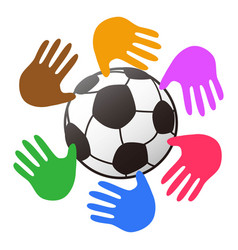 color hands around soccer ball logo vector image