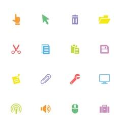 Colorful simple flat icon set 3 vector