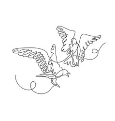 continuous one line drawing of two birds play with vector image