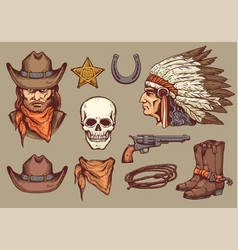 cowboy western retro elements sketch cartoon vector image