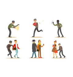 Criminals and robbers characters set pickpockets vector