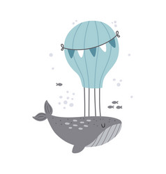 cute dreamy whale on white background vector image