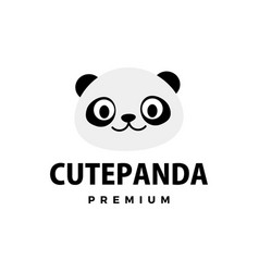 cute panda flat logo icon vector image