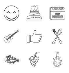 eat away icons set outline style vector image