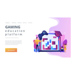 Educational game concept landing page vector
