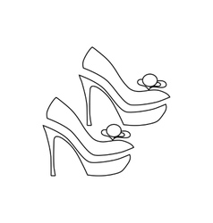 Elegant women high heel shoe icon outline style vector