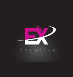 Ex e x creative letters design with white pink vector